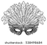venetian carnival mask with... | Shutterstock .eps vector #538498684