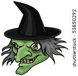 A Cartoon Halloween Witch Head...