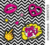 pop art fashion chic patches ... | Shutterstock .eps vector #538505725