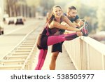 early morning workout. happy... | Shutterstock . vector #538505977