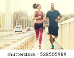 early morning workout. happy... | Shutterstock . vector #538505989