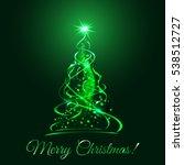 green glow xmas tree  elegant...   Shutterstock .eps vector #538512727