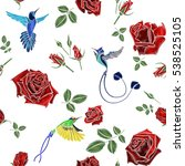 rose and bird embroidery.... | Shutterstock .eps vector #538525105