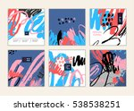 set of artistic creative cards... | Shutterstock .eps vector #538538251
