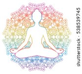 women silhouette. mandala round ... | Shutterstock .eps vector #538539745