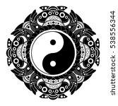 black and white vector henna... | Shutterstock .eps vector #538556344