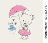 cute bear girl with umbrella ... | Shutterstock .eps vector #538565647
