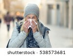 woman with a seasonal winter... | Shutterstock . vector #538573681