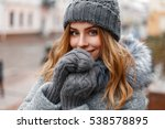 beautiful young girl in a gray... | Shutterstock . vector #538578895