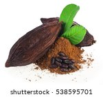 cocoa pods and cocoa beans and... | Shutterstock . vector #538595701