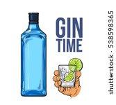 blue gin bottle and hand...   Shutterstock .eps vector #538598365