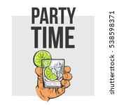 hand holding glass of gin ... | Shutterstock .eps vector #538598371