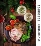 christmas baked ham and red...   Shutterstock . vector #538608931