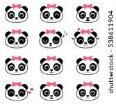 set of cute cartoon pandas with ... | Shutterstock .eps vector #538611904