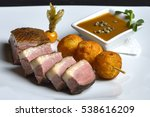 roasted duck breast served with ... | Shutterstock . vector #538616209