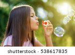children girl blowing soap... | Shutterstock . vector #538617835