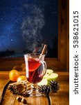 glass of mulled wine on a table ... | Shutterstock . vector #538621015