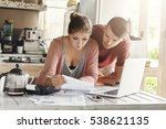 young family calculating... | Shutterstock . vector #538621135