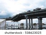 apocalypse sea view. destroyed... | Shutterstock . vector #538623025