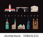switzerland landmarks travel... | Shutterstock .eps vector #538631221