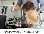 small boy with girl l salting...   Shutterstock . vector #538634734