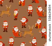 santa claus in different poses... | Shutterstock .eps vector #538634854