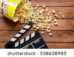 watching movie with popcorn on... | Shutterstock . vector #538638985