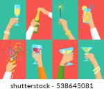 human hands holding glasses of... | Shutterstock .eps vector #538645081