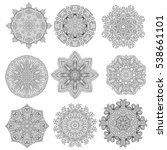 set of 9 flower mandalas. hand... | Shutterstock .eps vector #538661101