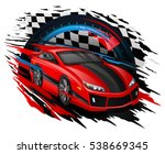 speeding race car with abstract ... | Shutterstock .eps vector #538669345