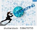 businessman release the power... | Shutterstock .eps vector #538670755