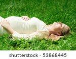 beautiful pregnant woman lying... | Shutterstock . vector #53868445