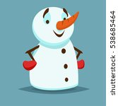 happy and smiling snowman with... | Shutterstock .eps vector #538685464