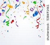 colorful ribbon and confetti...   Shutterstock .eps vector #538691461
