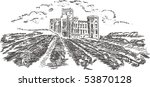 vintage   vineyard and castle ... | Shutterstock .eps vector #53870128