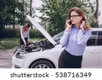 two girls on the road trying to ... | Shutterstock . vector #538716349