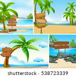 four scenes of ocean and lake... | Shutterstock .eps vector #538723339