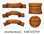 cartoon wooden plank signs.... | Shutterstock .eps vector #538723759