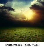storm dark clouds over field... | Shutterstock . vector #53874031