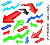 set of colored arrows. shiny 3d ... | Shutterstock .eps vector #538745659