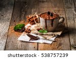 mug of hot chocolate with... | Shutterstock . vector #538757239