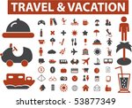 56 travel   vacation signs.... | Shutterstock .eps vector #53877349
