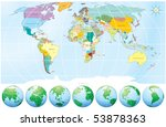 world map with globes  ... | Shutterstock .eps vector #53878363