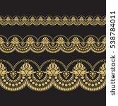 seamless floral tiling borders. ... | Shutterstock .eps vector #538784011