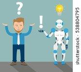 robot cartoon with businessman  ... | Shutterstock .eps vector #538804795