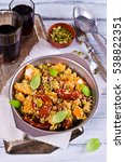 salad with roasted vegetables... | Shutterstock . vector #538822351