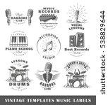 set of vintage musical labels... | Shutterstock .eps vector #538829644