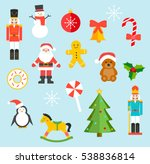 christmas toys and sweets set ... | Shutterstock .eps vector #538836814