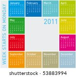 colorful calendar for year 2011 ... | Shutterstock .eps vector #53883994