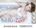 pregnant woman in a bathroom... | Shutterstock . vector #538842241